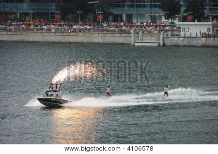 Wakeboarders During National Day