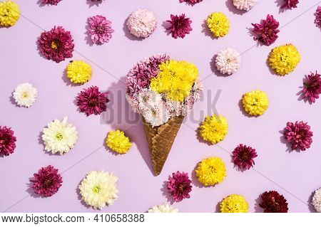 Beautiful Bouquet With Flowers Lying On A Pink. Cute Bouquet Lying On A Pink Background In Honor Of