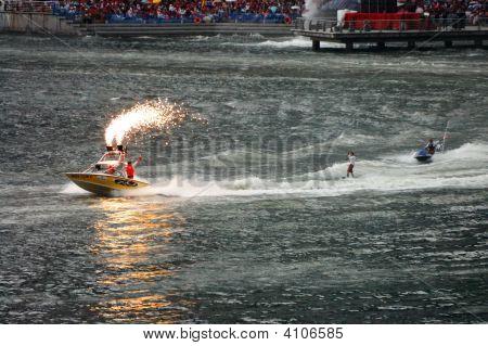 Wakeboarder And Jet-Ski Stunt Performance