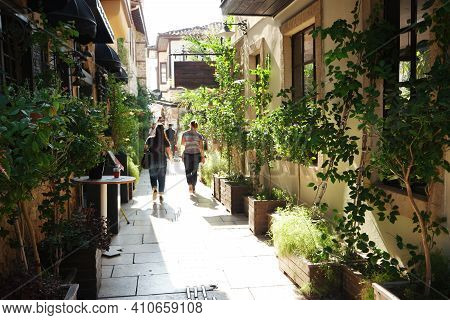 Picturesque View Of Alley Decorated With Green Plants. Beautiful View Of Scenic Narrow Street With H