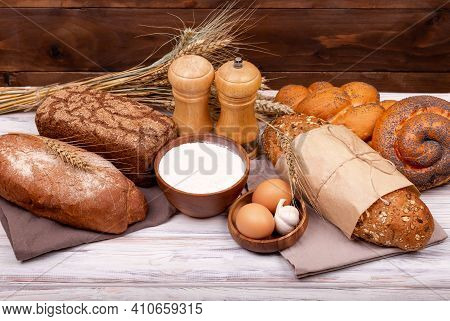 Various Bread Rolls. Healthy Bread Assortment. Bakery Products. Collection Of Grain Bread And Baked
