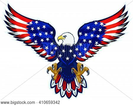 American Eagle. The Eagle And Flag Of The United States Of America