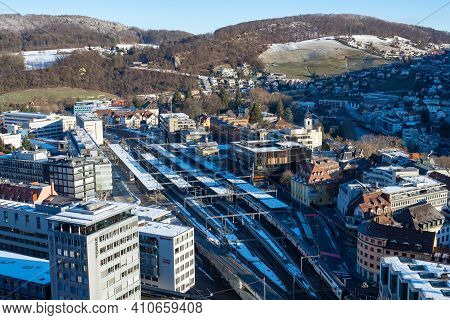 Baden, Switzerland - January 24th 2021: View From Ruin Stein Over The Station