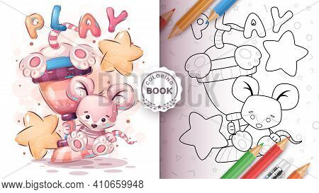 Cute Mouse Winner - Coloring Page. Vector Eps 10