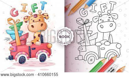 Giraffer In The Car - Coloring Book. Vector Eps 10