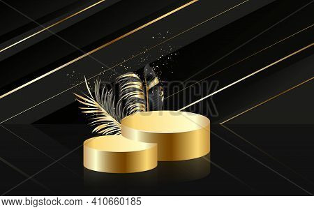 3d Realistic Black Pedestal On A Black Silk Background With Golden Palm Leaves.