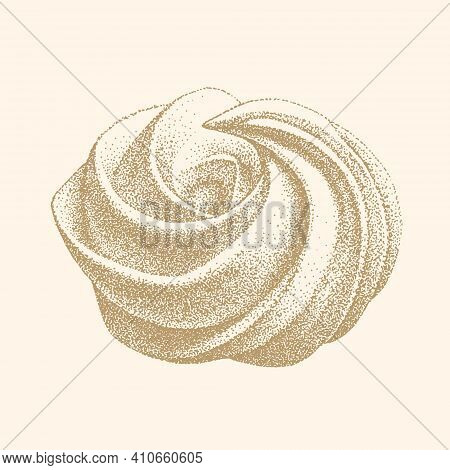 Airy French Meringue Twirls, Marshmallow, Zefir. Hand Drawn Vector Illustration In Graphic Vintage R