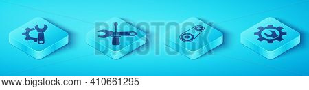 Set Isometric Wrench Spanner And Gear, Screwdriver And Wrench Spanner, Wrench Spanner And Gear And T