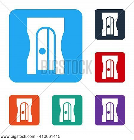 White Pencil Sharpener Icon Isolated On White Background. Set Icons In Color Square Buttons. Vector