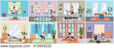 Sport At Home Scenes Set. Young People And Elderly Couple Training During Quarantine. Persons Go In