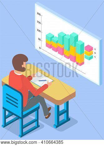 Businessman Working Analyzing Financial Statistics. Male Professional Marketer Studies Information A