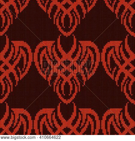 Ornamental Knitting Seamless Vector Pattern In Orange And Brown Hues As A Fabric Texture