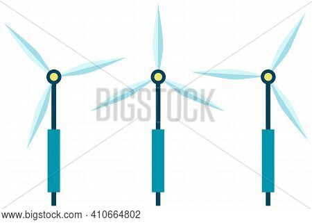 Wind Power Station For Electricity Production Without Harm To Environment Vector Illustration. Windm