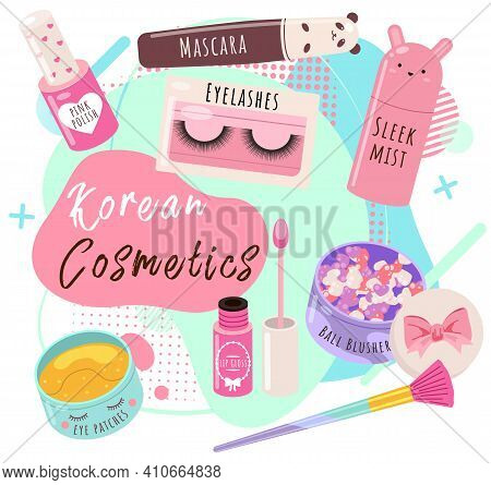 Vector Beauty Set. Makeup Cosmetics Tools And Korean Cosmetics. Beauty Products Collection. Sleek Mi