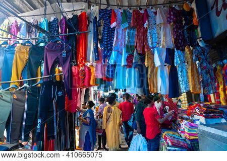 Kolkata, West Bengal, India - 10th September 2019 : Colourful Garments Hanging For Sale At Esplanade