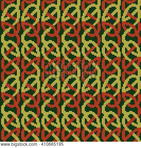 Ornate Knitting Seamless Vector Pattern In Green, Orange And Yellow Colors As A Fabric Texture