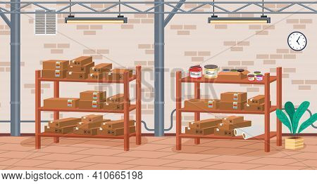 Racks With Boxes And Color Containers Cans With Dyes In Printing House Room Vector Illustration. Car