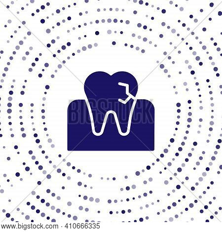 Blue Tooth With Caries Icon Isolated On White Background. Tooth Decay. Abstract Circle Random Dots.