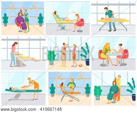 Spa Salon Treatment Vector, People Having Beauty Days. Hair Styling, Manicure And Pedicure, Epilatio