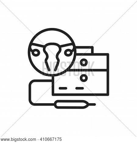 Laser Treatment Cervical Pathology Color Line Icon. Outline Pictogram For Web Page.