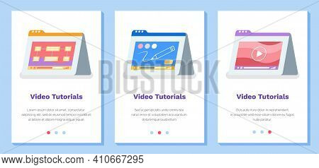 Set Of Illustrations About Online Video Tutorials, Webinar, Distance Education, E-learning, Business