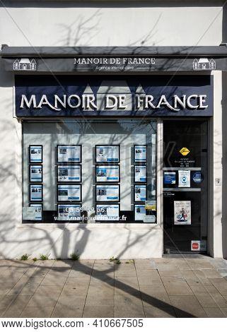BAYONNE, FRANCE - CIRCA FEBRUARY 2021: Manoir de France real estate agency office.