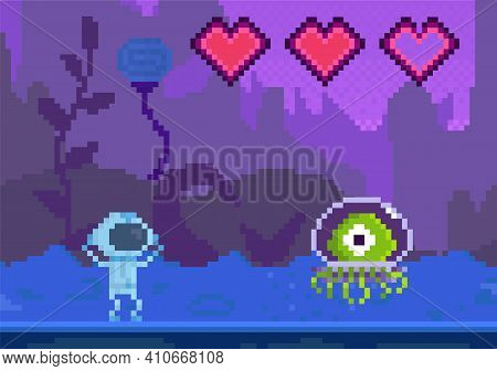 Pixel Game Interface Layout Design. Cartoon Character Goes To Unidentified Object. Alien Attacks Ast