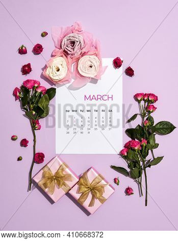 Composition With Flowers, Cards And Gifts Lying On A Pink Background In Honor Of March 8. March 8 Sp
