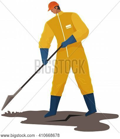 Ecology Problems And Global Pollution Concept. Volunteer Is Cleaning Dirty Area. Male Character In P
