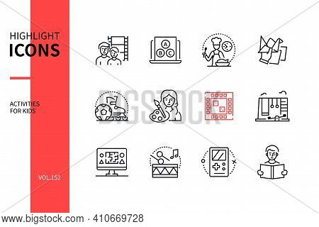 Activities For Kids - Line Design Style Icons Set