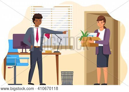 Layoff Concept. Boss Dismissed Employee. Unhappy Fired Woman Leave The Office With Things In Box. Un