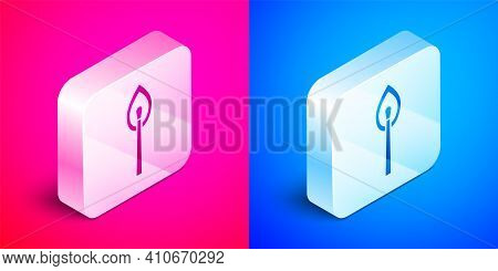 White Burning Match With Fire Icon Isolated With Long Shadow. Match With Fire. Matches Sign. Red Cir