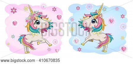 Baby Shower Greeting Card With Cute Cartoon Unicorn Girl And Boy.