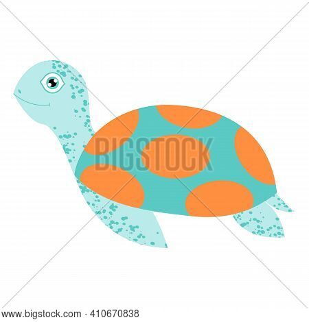Turtle Or Tortoise. Cartoon Character Design. Cute And Funny. Turquoise Green And Orange. Isolated O
