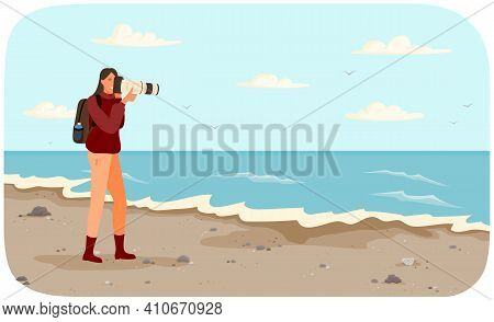 Woman Is Making Photo Of Amazing Landscape. Girl With Camera Is Looking Into Lens. Photographer With