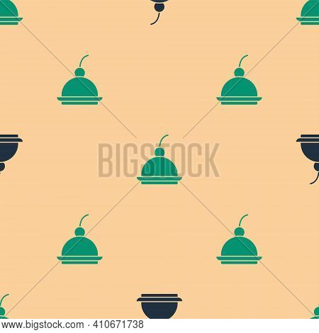 Green And Black Cherry Cheesecake Slice With Fruit Topping Icon Isolated Seamless Pattern On Beige B