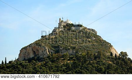 Mount Lycabettus Limestone Hill With Chapel On Top In Athens Greece