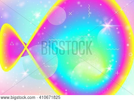 Holographic Background With Vibrant Rainbow Gradients. Dynamic Fluid. Cosmos Hologram. Graphic Templ