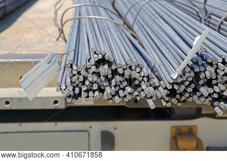 Rebar Rods At Flatbed Truck Trailer Freight Transport