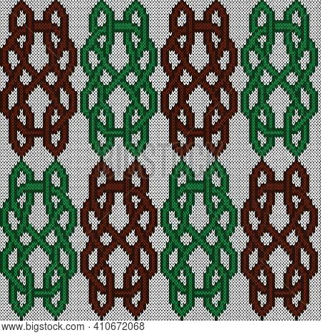 Ornate Seamless Knitted Vector Pattern As A Fabric Texture In Brown And Green Colors On White Backgr