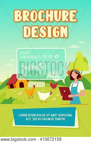 Happy Female Farmer Working With Smart Farm Flat Vector Illustration. Cartoon Woman Farming And Anal