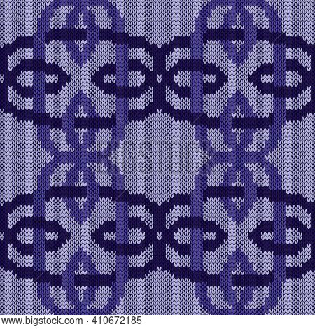 Geometrical Seamless Knitted Vector Pattern As A Fabric Texture In Violet Hues On Muted Background