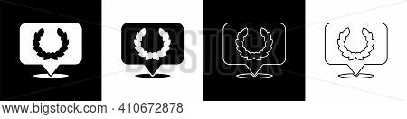 Set Laurel Wreath Icon Isolated On Black And White Background. Triumph Symbol. Vector