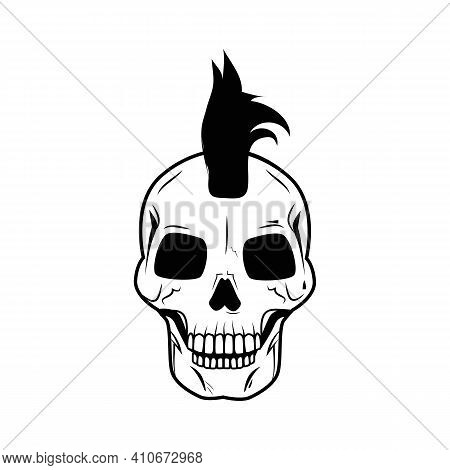 Skull Big Image Representing Cranium With Hair, Wearing Punk Haircut, Detailed Picture Represented O