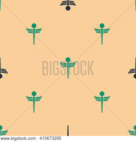 Green And Black Caduceus Snake Medical Symbol Icon Isolated Seamless Pattern On Beige Background. Me