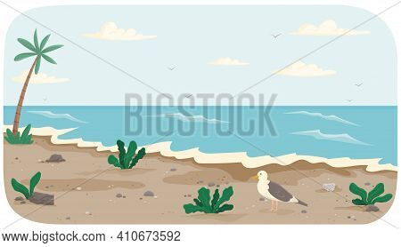 Coastline With Ocean At High Tide. Seascape With Salty Water And Palm Trees On Seashore. Water Cover