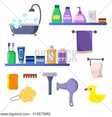 Set With Items For The Bathroom. Vector Illustration. Care Items - Shampoo, Soap, Toothbrushes And T
