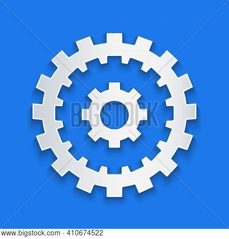 Paper Cut Bicycle Cassette Mountain Bike Icon Isolated On Blue Background. Rear Bicycle Sprocket. Ch