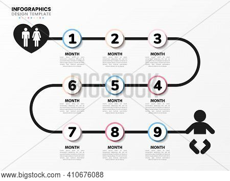 Infographic Design Template. Pregnancy Concept With 9 Steps. Can Be Used For Workflow Layout, Diagra