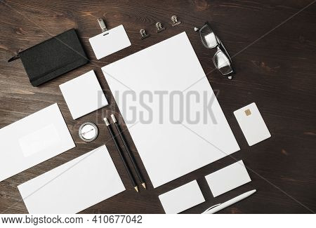 Blank Corporate Identity Template On Wood Table Background. Photo Of Blank Stationery Set. Mockup Fo